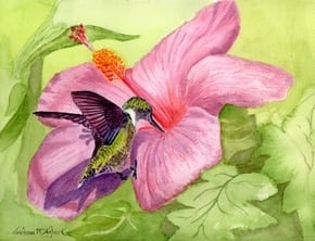 Hummingbird painting by JoAnne Wojcik